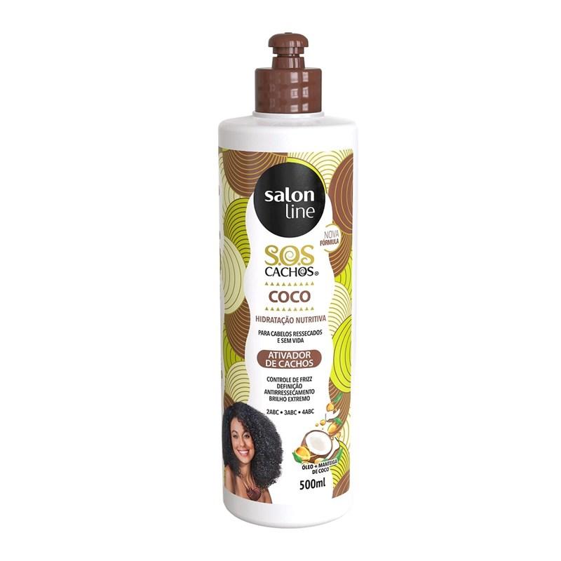 Ativador de Cachos Coco Salon Line S.O.S CACHOS 500 ml Óleo e Manteiga de Coco