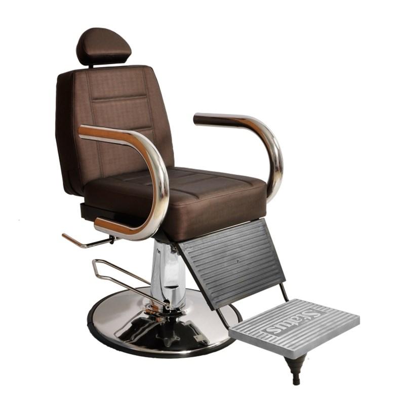 Cadeira Barbeiro Status Jumbo Base Redonda Reclinável Marrom Factor