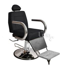 Cadeira Barbeiro Status Jumbo Base Redonda Reclinável Preto Factor