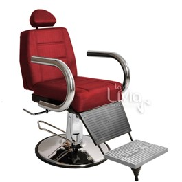 Cadeira Barbeiro Status Jumbo Base Redonda Reclinável Vermelho Factor