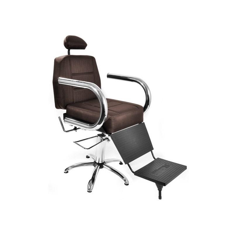 Cadeira Barbeiro Status Jumbo Reclinável Marrom Factor