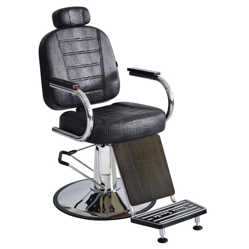 Cadeira Barbeiro Terra Santa Matisse Retrô Reclinável Marrom Croco