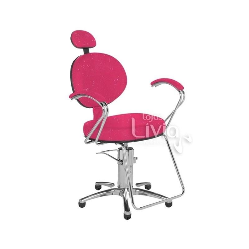 Cadeira Cromit Carol Luxo Fixa Rosa Gliter