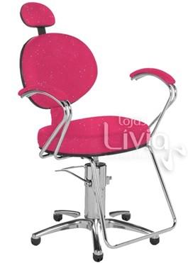 Cadeira Cromit Carol Luxo Reclinável Rosa Gliter