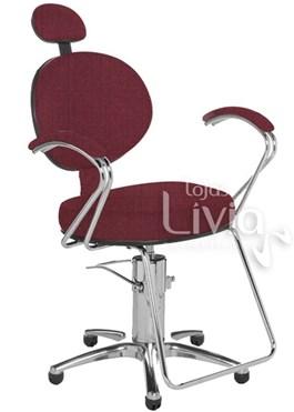 Cadeira Cromit Carol Luxo Reclinável Vinho Facto