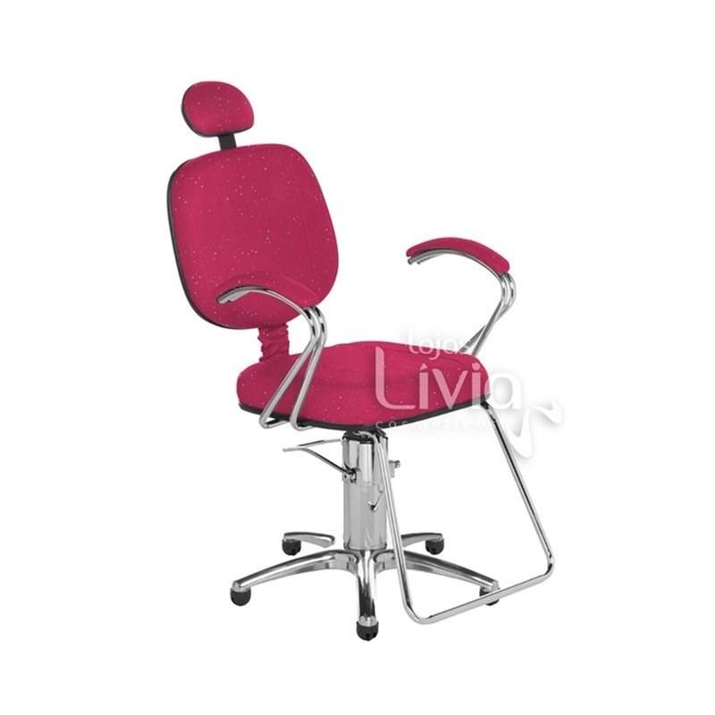 Cadeira Cromit Corsa Luxo Reclinável Rosa Gliter