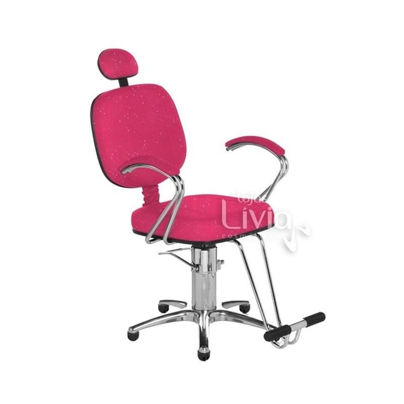 Cadeira Cromit Corsa Premium Reclinável Rosa Gliter