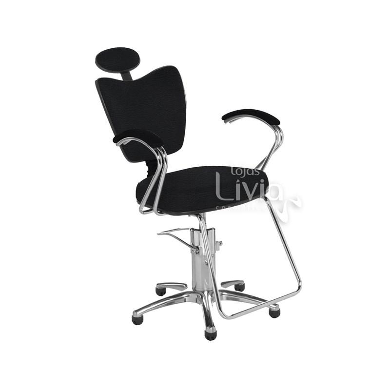 Cadeira Cromit Grécia Luxo Fixa Preto