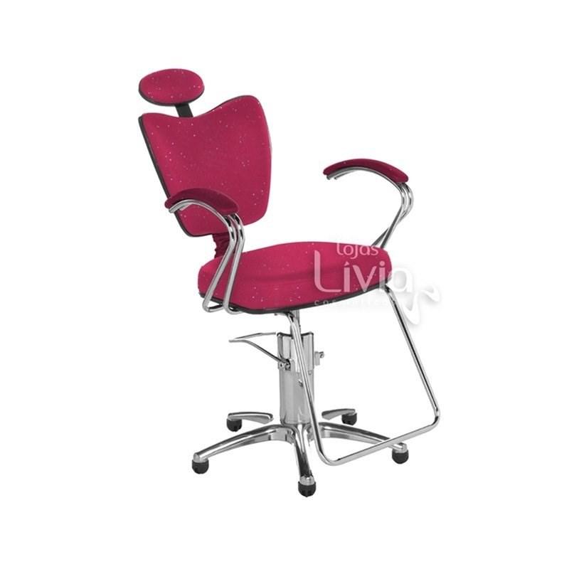 Cadeira Cromit Grécia Luxo Reclinável Rosa Gliter