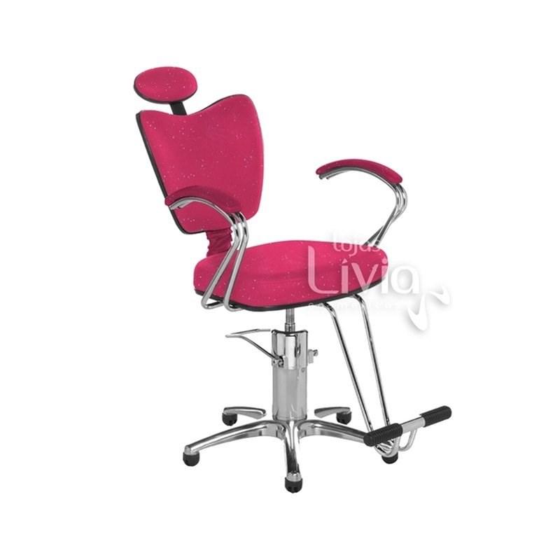 Cadeira Cromit Grécia Premium Reclinável Rosa Gliter