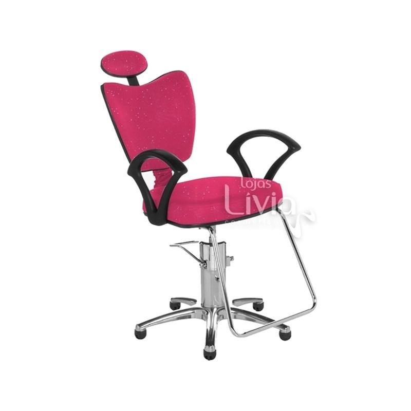 Cadeira Cromit Grécia Standard Reclinável Rosa Gliter