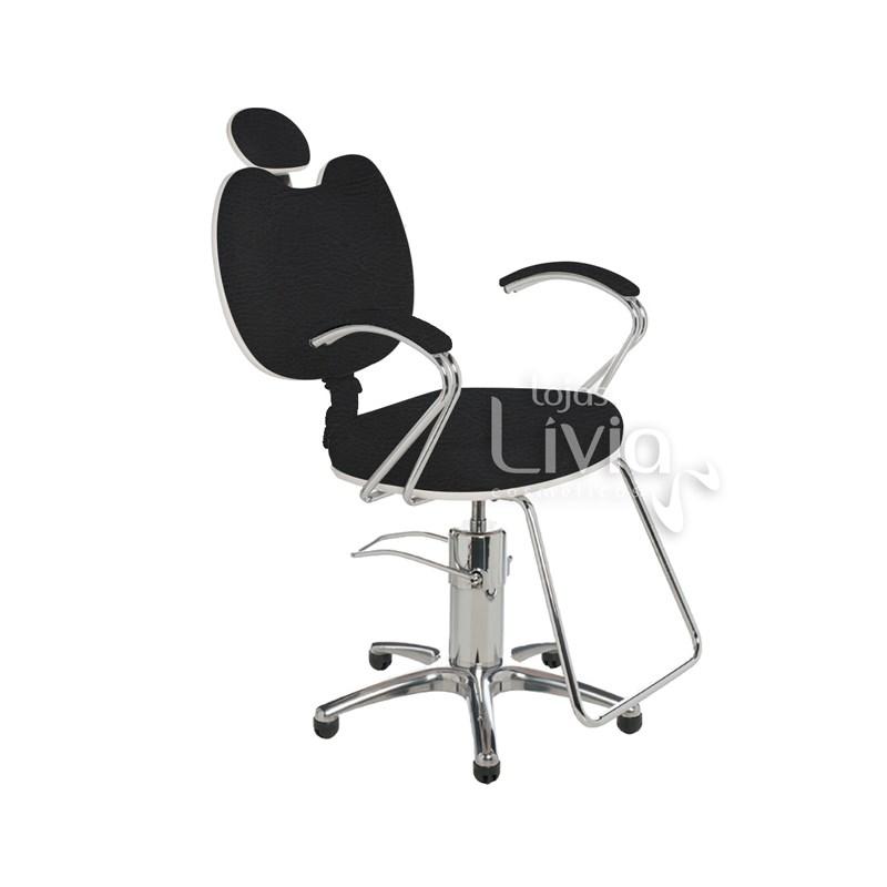 Cadeira Cromit Luana Luxo Reclinável Preto