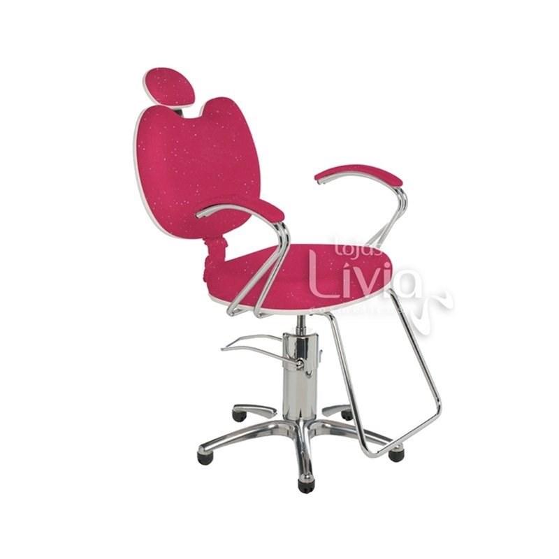 Cadeira Cromit Luana Luxo Reclinável Rosa Gliter