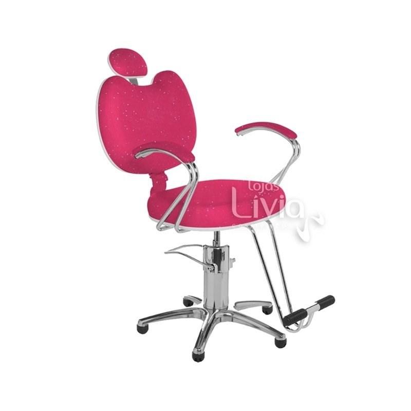 Cadeira Cromit Luana Premium Fixa Rosa Gliter