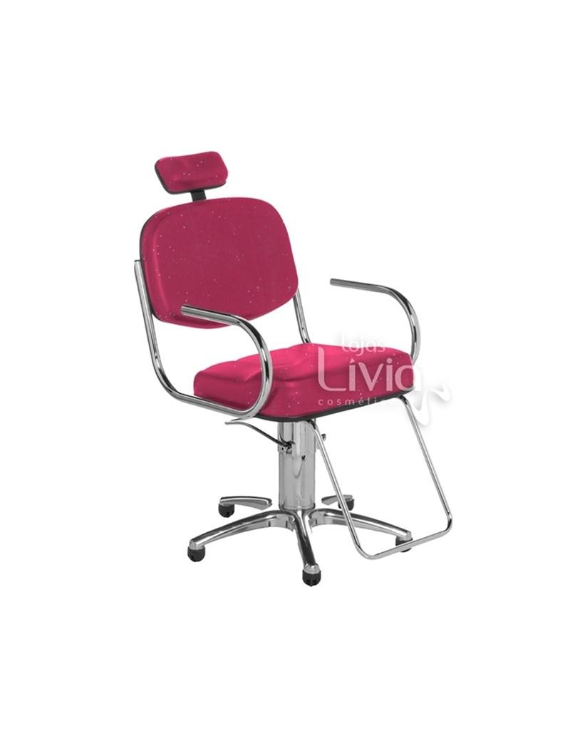 Cadeira Cromit Pratic Fixa Rosa Gliter