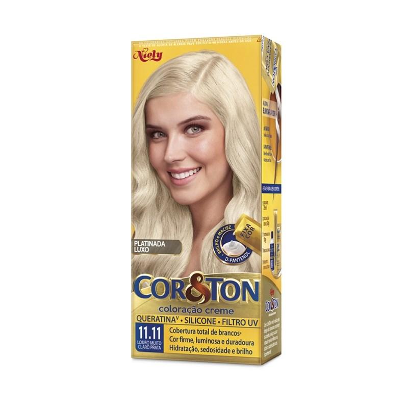 Colorac?o Cor & Ton 11.11 Louro Muito Claro Prata