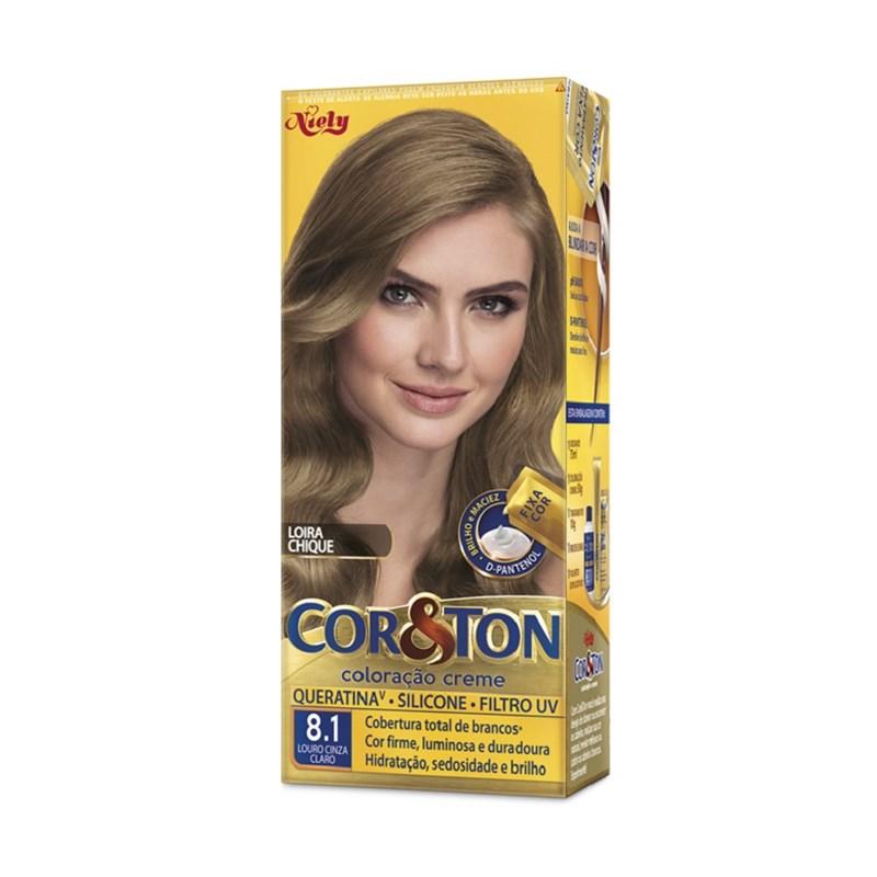 Colorac?o Cor & Ton 8.1 Louro Cinza Claro