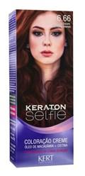 Coloração Keraton Selfie 50 gr Louro Escuro Vermelho Intenso 6.66
