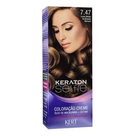 Coloração Keraton Selfie 50 gr Louro Médio Acobreado Marrom 7.47