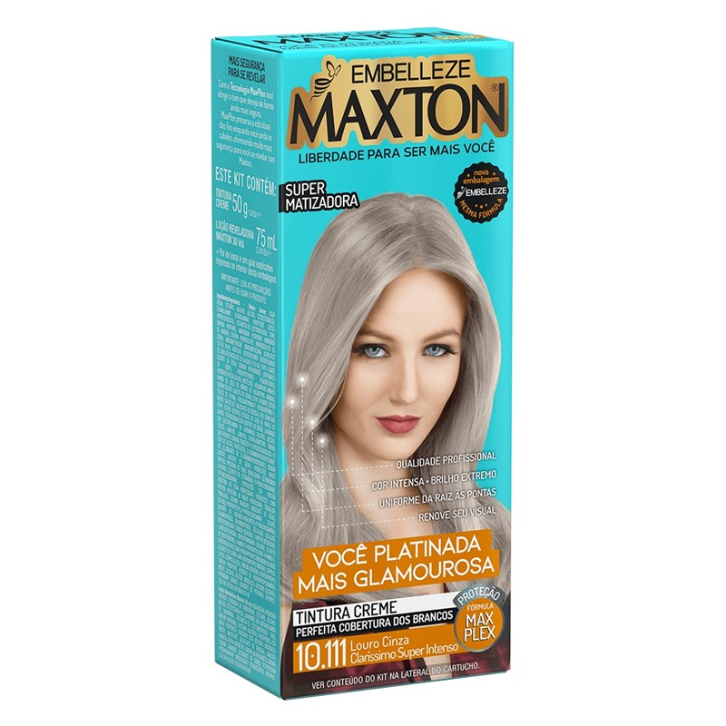 Coloração Maxton Kit Econômico Louro Cinza Claríssimo Super Intenso 10.111