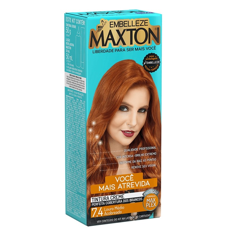 Coloração Maxton Kit Econômico Louro Médio Acobreado 7.4