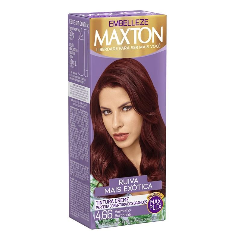 Coloração Maxton Kit Econômico Vermelho Borgonha 4.66