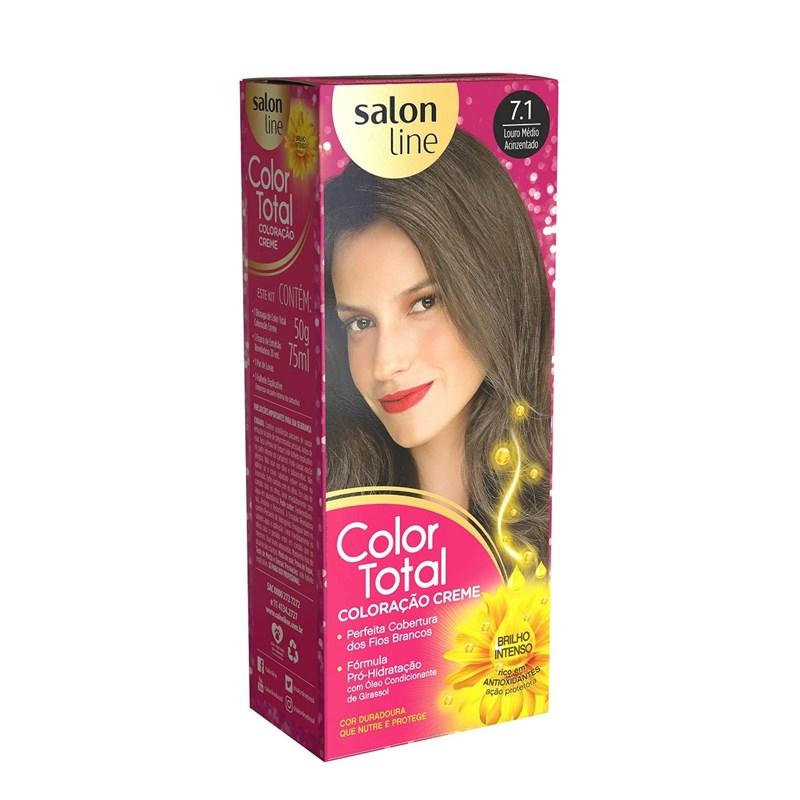 Coloração Salon Line Color Total Louro Medio Acinzentado 7.1