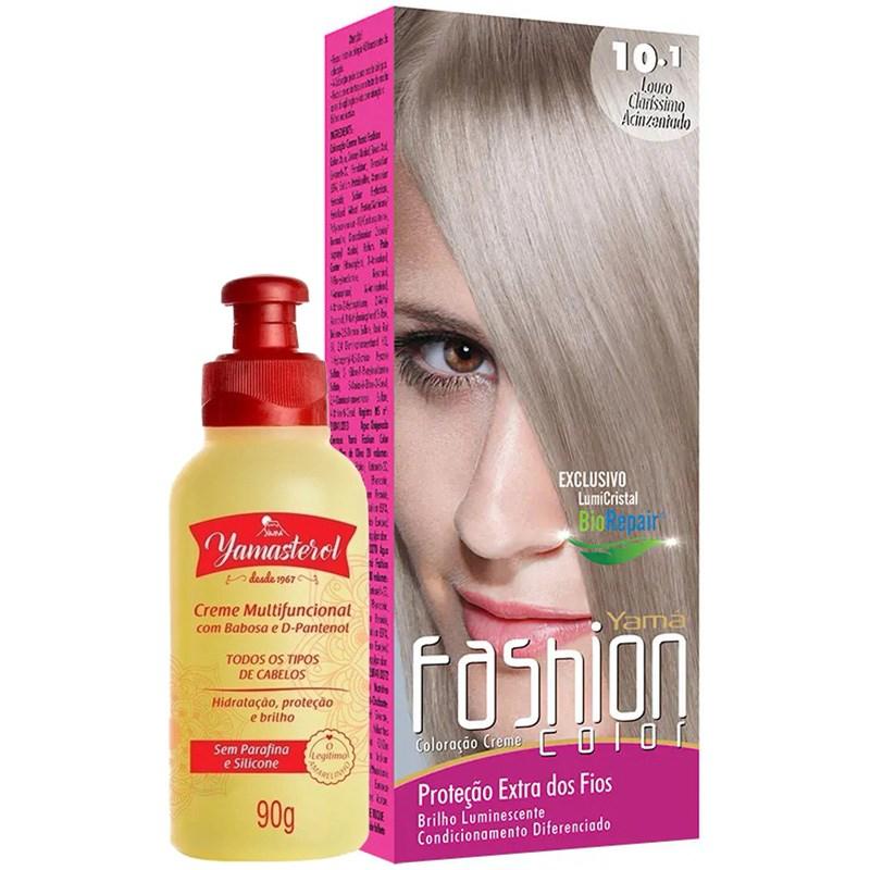 Coloração Yamá Fashion Color 10.1 Louro Claríssimo Acinzentado 90g + Yamasterol