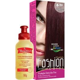 Coloração Yamá Fashion Color 6.66 Louro Escuro Vermelho Intenso 90g + Yamasterol