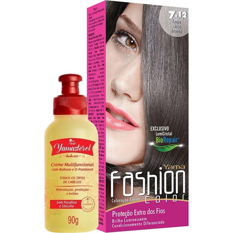 Coloração Yamá Fashion Color 7.12 Louro Cinza Irizado 90g + Yamasterol