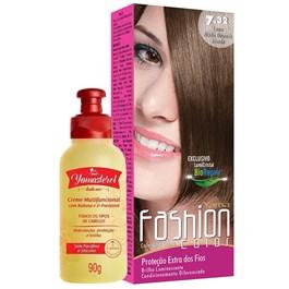 Coloração Yamá Fashion Color 7.32 Louro Médio Dourado Irisado 90g + Yamasterol