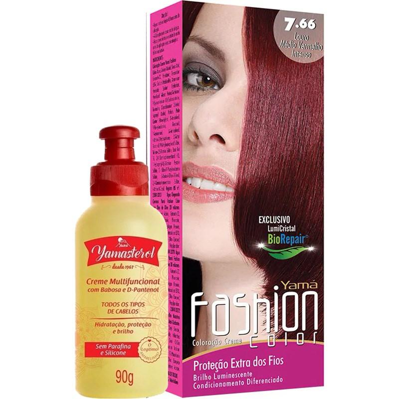 Coloração Yamá Fashion Color 7.66 Louro Médio Vermelho Intenso 90g + Yamasterol