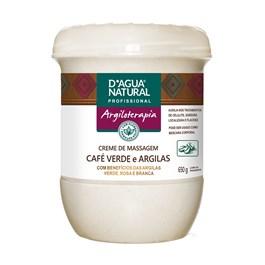 Creme de Massagem D'Agua Natural 650 gr Café Verde e Argilas