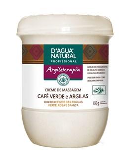 Creme de Massagem D'Agua Natural Argiloterapia  650 gr Café Verde