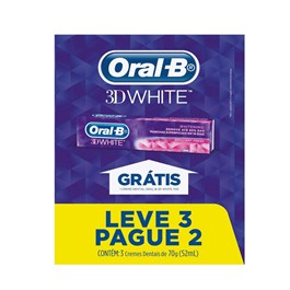 Creme Dental Oral-B 70 gr 3D White Leve 03 Pague 02