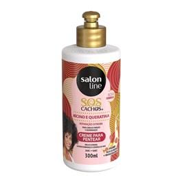 Creme Para Pentear Salon Line S.O.S CACHOS 300 ml Ricino e Queratina