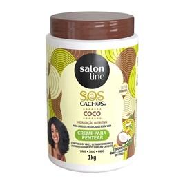 Creme Para Pentear Salon Line S.O.S CACHOS COCO 1 litro Óleo e Manteiga de Coco