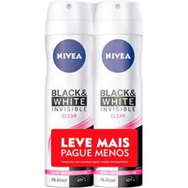 Desodorante Aerosol Feminino Nivea Black & White Invisible Leve Mais Pague Menos | Com 2 Unidades