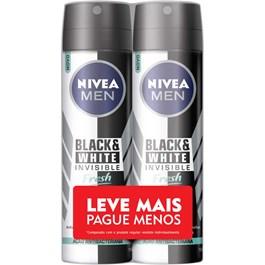 Desodorante Aerosol Masculino Nivea Black & White Fresh Leve Mais Pague Menos | Com 2 Unidades