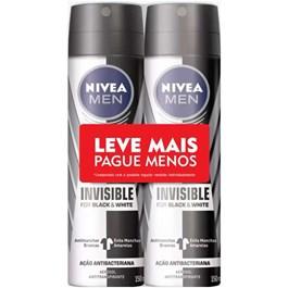 Desodorante Aerosol Masculino Nivea Black & White Invisible Leve Mais Pague Menos | Com 2 Unidades