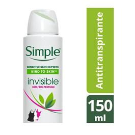 Desodorante Aerosol Simple 150 ml Invisible