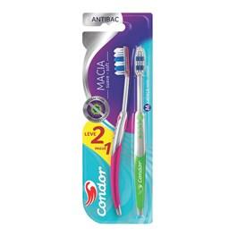 Escova Dental Condor Antibac Macia Leve 02 Pague 01 Cores Sortidas