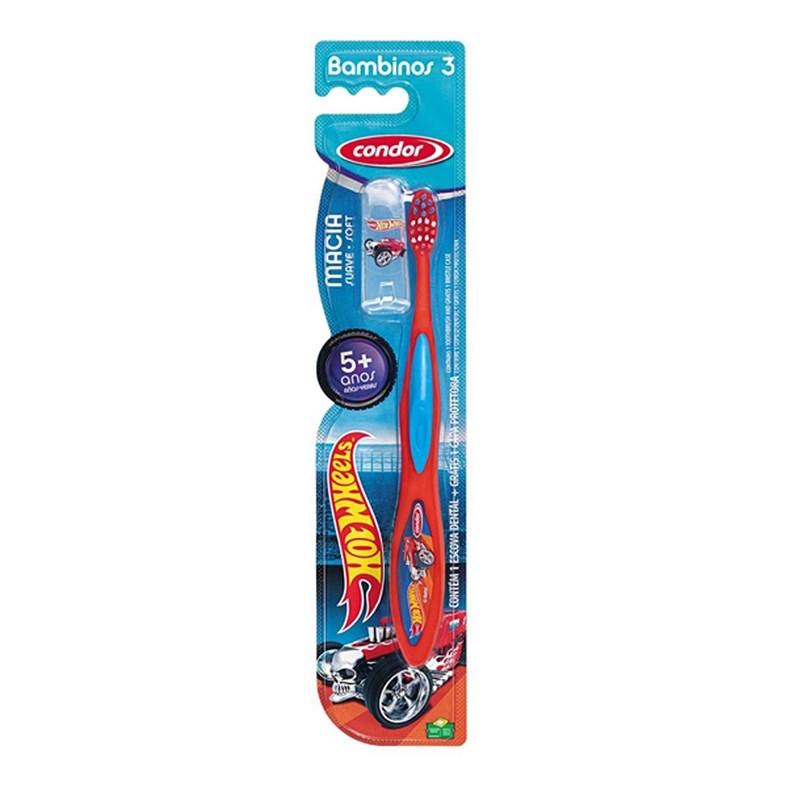 Escova Dental Condor Bambinos 3 Macia Hot Wheels Cores Sortidas