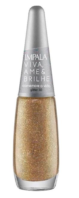 Esmalte Impala Viva Ame & Brilhe Glitter 3D 7,5 ml Comemore a Vida