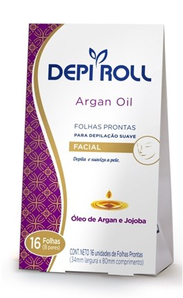 Folhas Prontas Facial Depi Roll 16 unidades Argan Oil