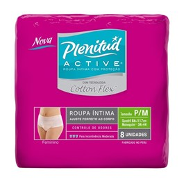 Fralda Geriátrica Plenitud Active Feminino 8 unidades Cotton Flex P/M