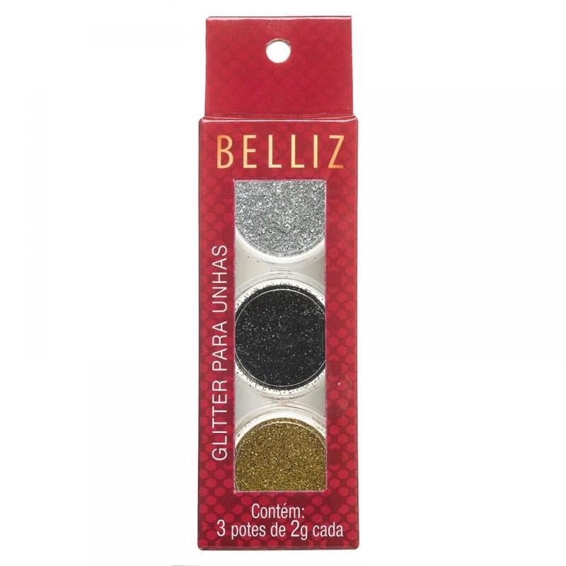 Glitter para Unha Belliz 3 Unidades 1828