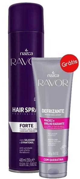 Hair Spray Ravor 400 ml Forte Grátis Defrizante