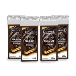 Kit Cera Refil Roll On Depimiel 100 gr Chocolate Leve 04 Pague 03