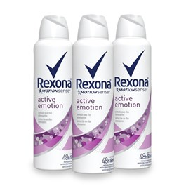 Kit Desodorante Aerosol Rexona Feminino 90 gr Active Emotion Leve 03 Pague Menos